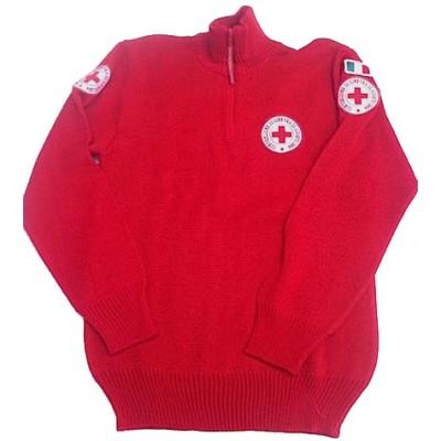Maglione zip antipilling CRI rosso