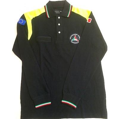 Polo tricolore Protezione Civile maniche lunghe con toppe