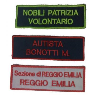 Coppia Targhette ricamate con velcro personalizzate, cm12 x 4
