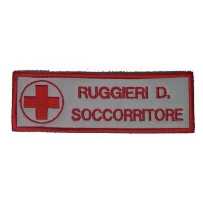 Coppia Targhette con velcro Croce Rossa personalizzate, cm12 x 4